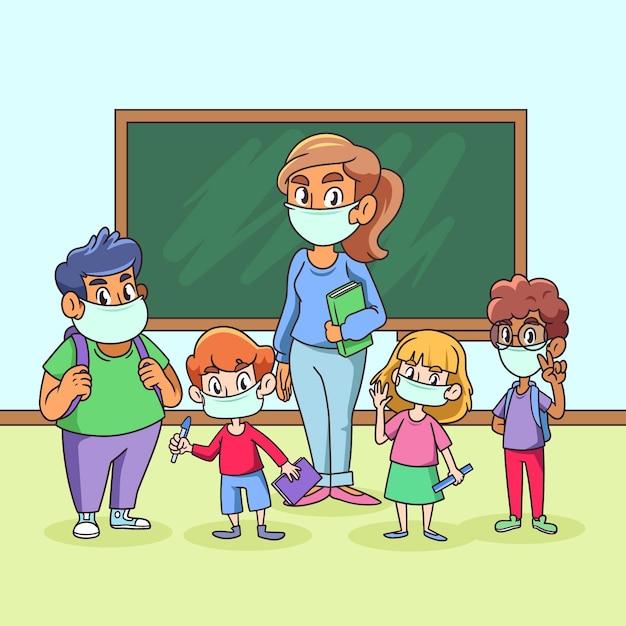 Professor e alunos usando máscara facial na aula Vetor grátis