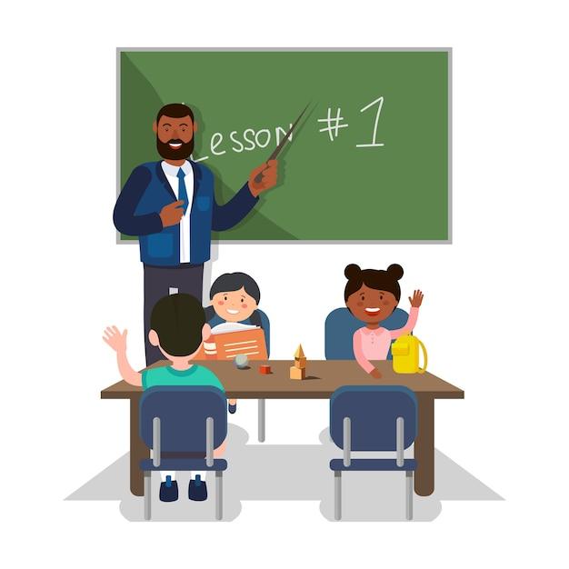 Professor e alunos Vetor Premium