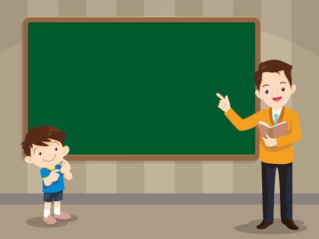 Professor e garoto studen em frente a lousa Vetor Premium