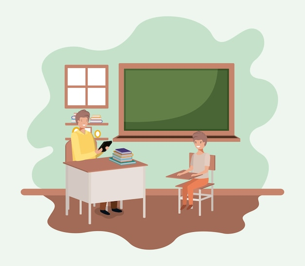 Professor, em, sala aula, com, estudantes, vetorial, ilustração, desenho Vetor Premium