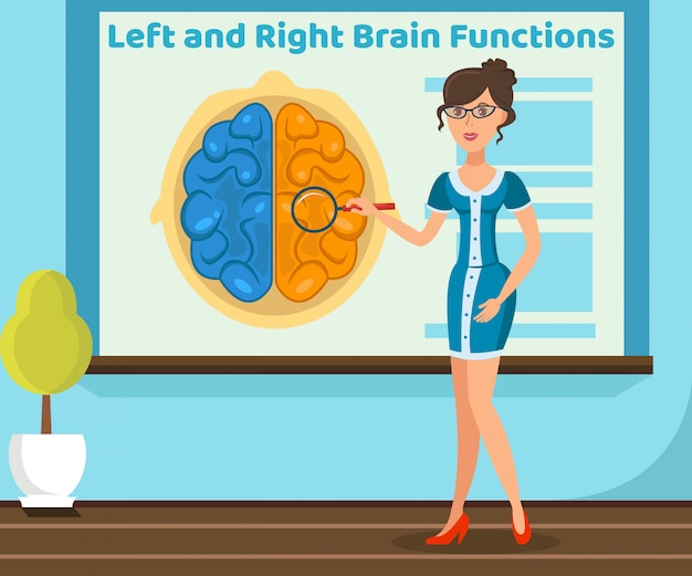 Professor explicando ilustração de função do cérebro Vetor Premium