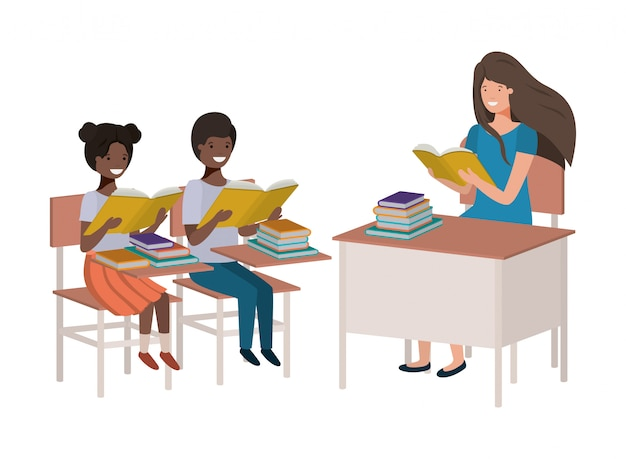 Professor feminino, leitura, em, sala aula, com, estudantes Vetor Premium