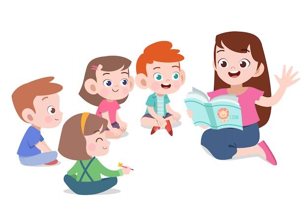 Professor leia a história para ilustração vetorial de aluno Vetor Premium
