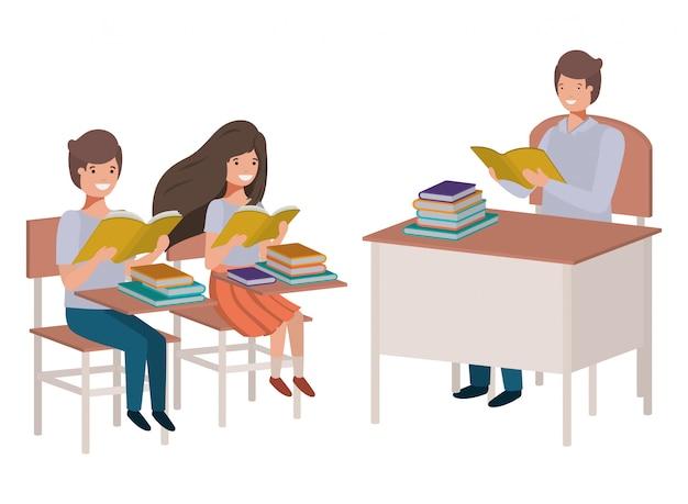 Professor, leitura, em, sala aula, com, estudantes Vetor Premium