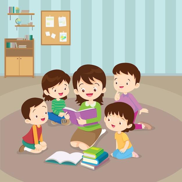 Professor, leitura, para, crianças Vetor Premium