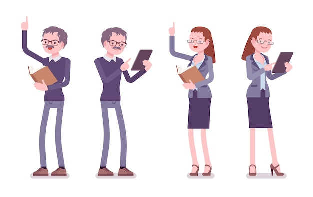 Professor masculino e feminino em pé Vetor Premium