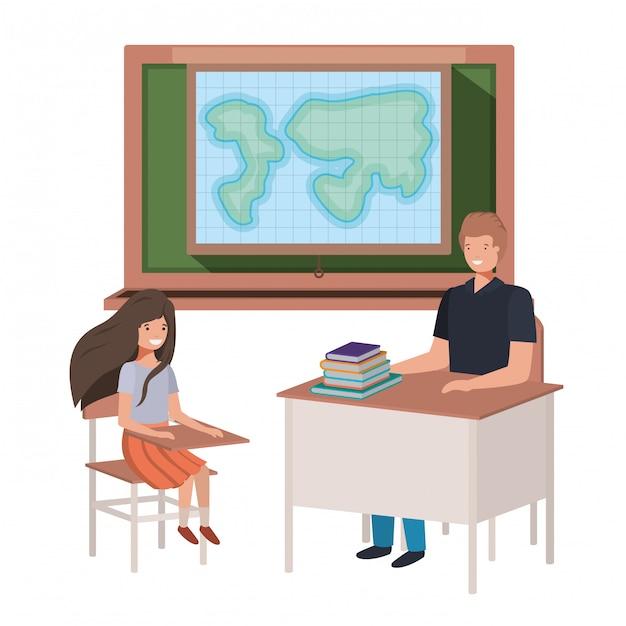 Professor na aula de geografia com alunos Vetor Premium