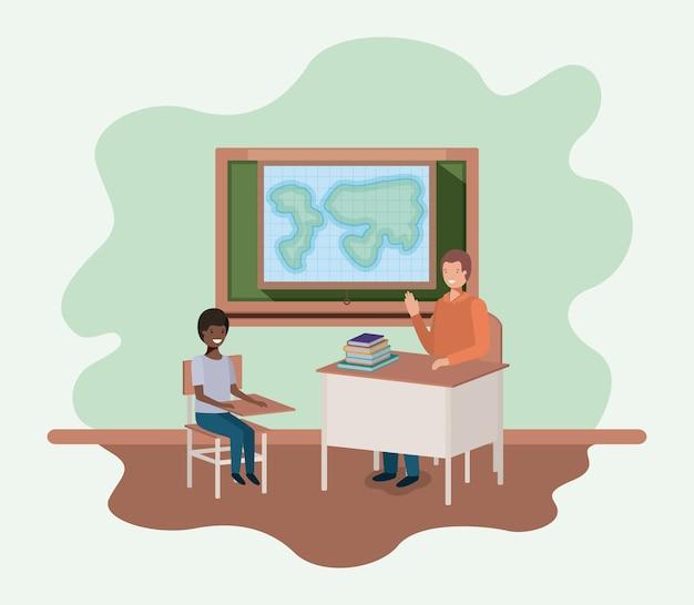 Professor na aula de geografia com design de ilustração de vetores de estudantes Vetor Premium