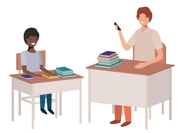 Professor na sala de aula com o aluno Vetor Premium