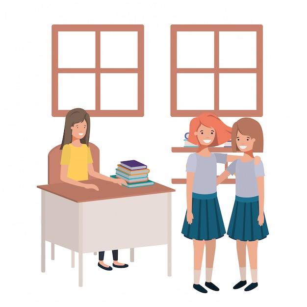 Professor na sala de aula com os alunos Vetor Premium