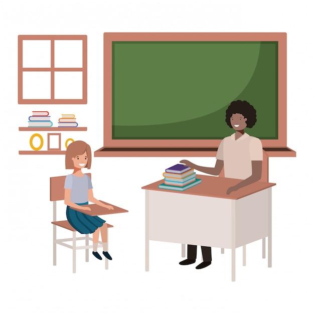 Professor preto na sala de aula com os alunos Vetor Premium