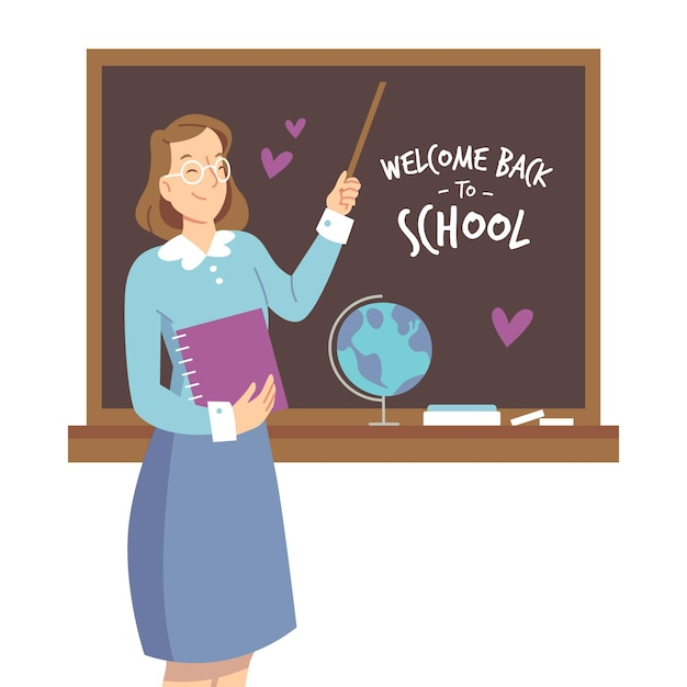 Professor recebe de volta à escola Vetor grátis