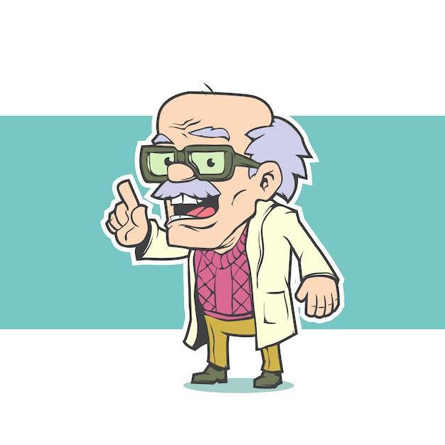 Professor velho com óculos Vetor Premium
