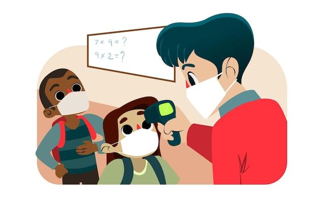 Professor verificando a temperatura das crianças Vetor Premium