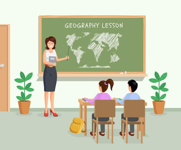 Professora com ponteiro mostrando continentes na lousa Vetor Premium