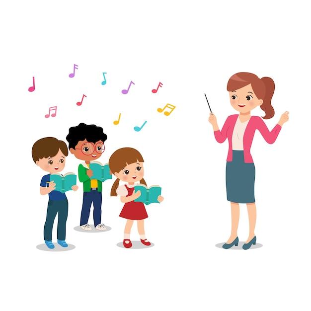 Professora conduz coral de alunos para evento na escola. extracurricular musical. clip-art cantando. feliz menino e menina cantam. vetor de estilo simples dos desenhos animados isolado. Vetor Premium