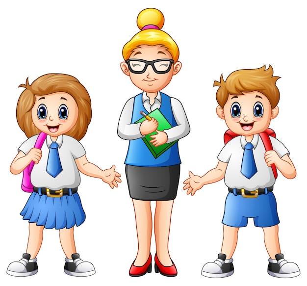 Professora De Desenhos Animados E Estudantes Em Uniforme Escolar