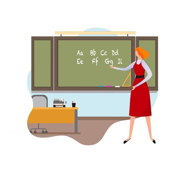 Professora de escola primária dando lição Vetor Premium