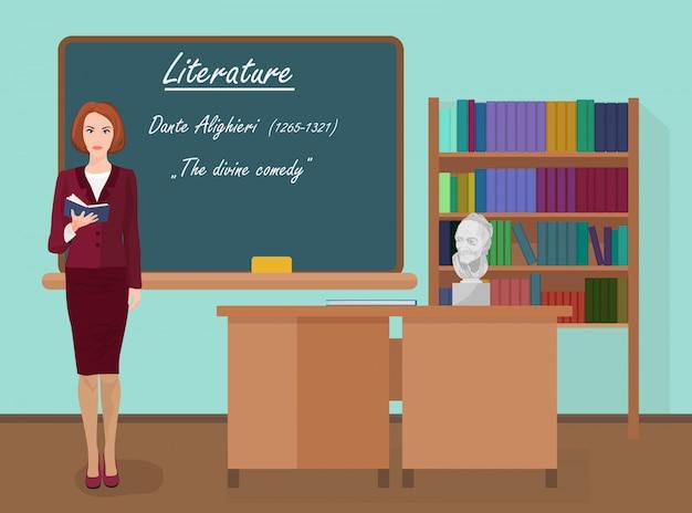 Professora de literatura escolar Vetor Premium