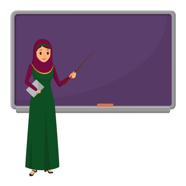 Professora de mulher muçulmana perto de quadro-negro Vetor Premium