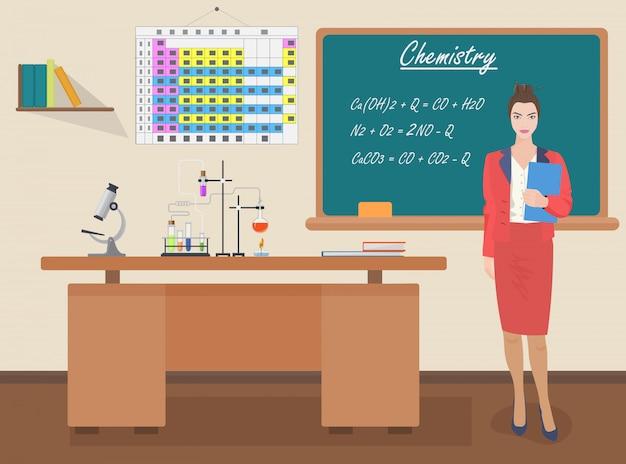 Professora de química escolar Vetor Premium