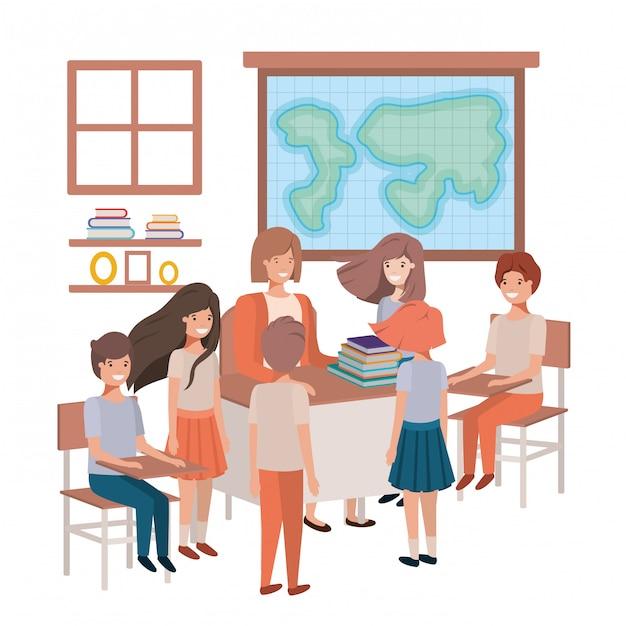 Professora na aula de geografia com alunos Vetor Premium