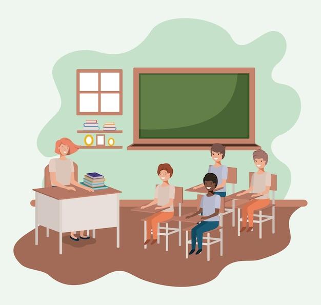 Professora na sala de aula com design de ilustração de vetores de estudantes Vetor Premium