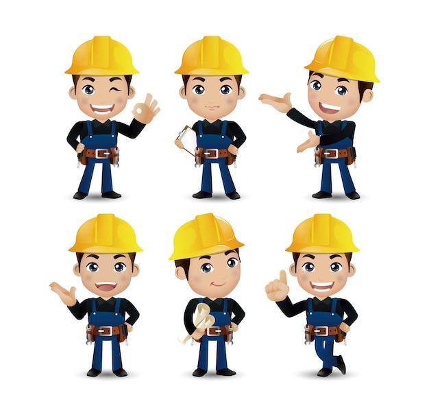 Profissão - construtor. trabalhador. engenheiro com poses diferentes Vetor Premium