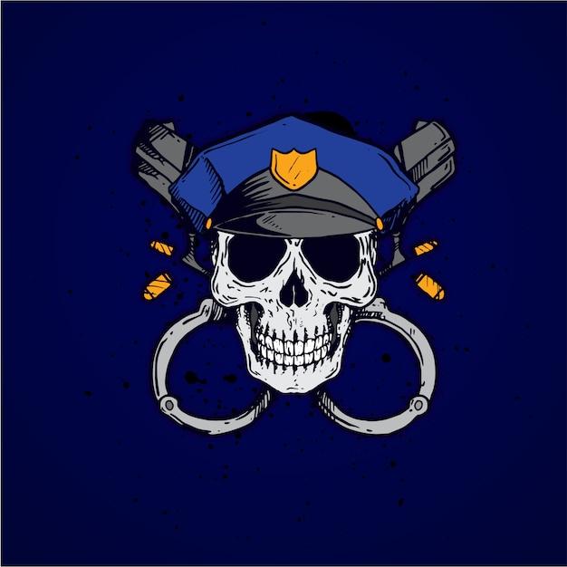 Profissão de caveira policial Vetor Premium