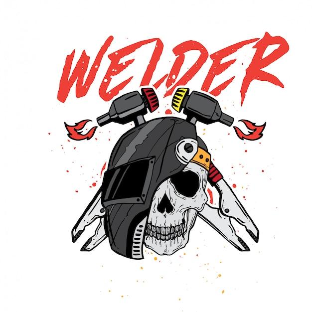 Profissão de crânio soldador Vetor Premium