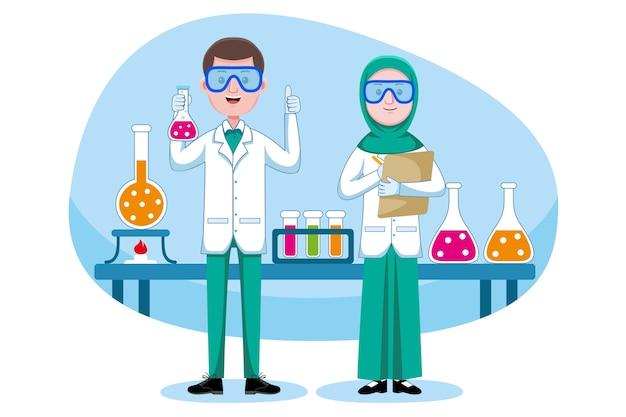 Profissão de químico Vetor Premium