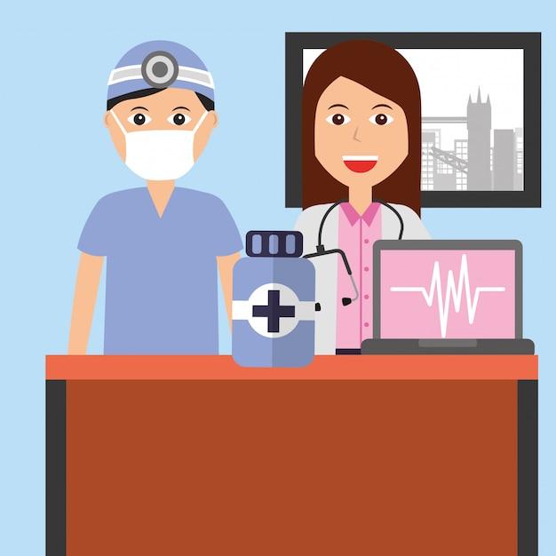 Profissão médica dos povos Vetor Premium