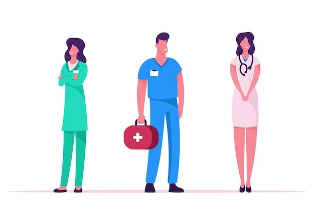 Profissão médica, ocupação. ilustração plana dos desenhos animados Vetor Premium