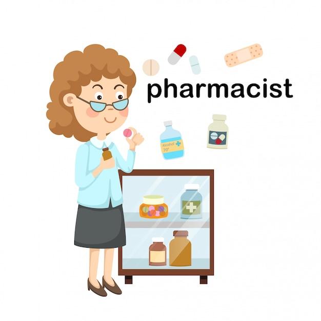 Profissão pharmacist.vector ilustração. Vetor Premium