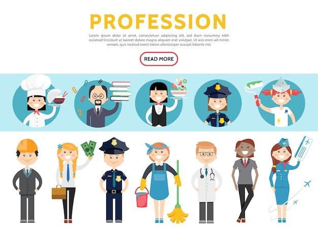 Profissões planas definidas com engenheiro contador policial empregada doméstica médico estilista aeromoça Vetor grátis