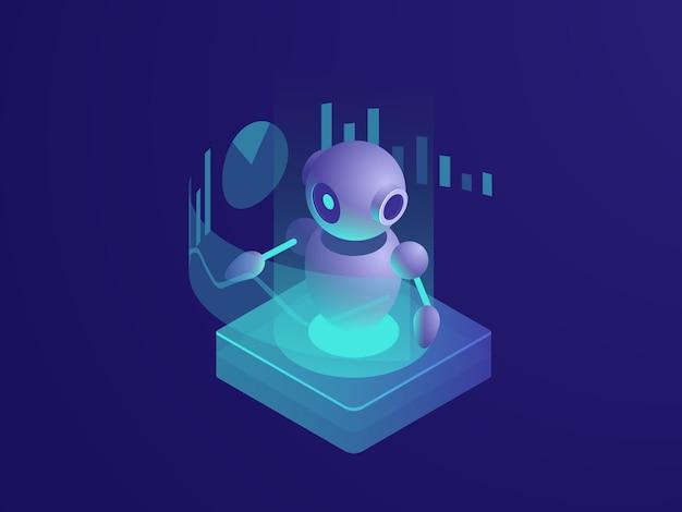 Programa de análise, ai robô, inteligência artificial processo automatizado de relatório de dados Vetor grátis