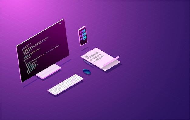 Programa de desenvolvimento e codificação, conceito de design de aplicativo móvel. Vetor Premium