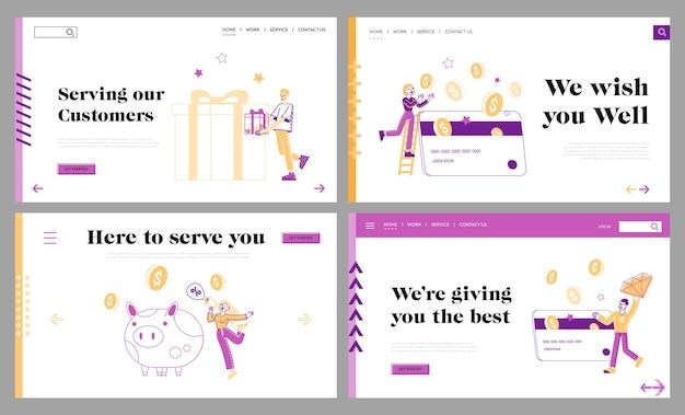 Programa de fidelidade, conjunto de modelos de página de destino de benefício de compra Vetor Premium