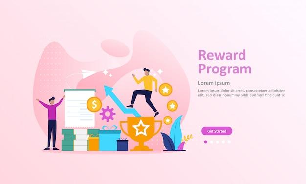 Programa de fidelidade e recompensar a página de destino Vetor Premium