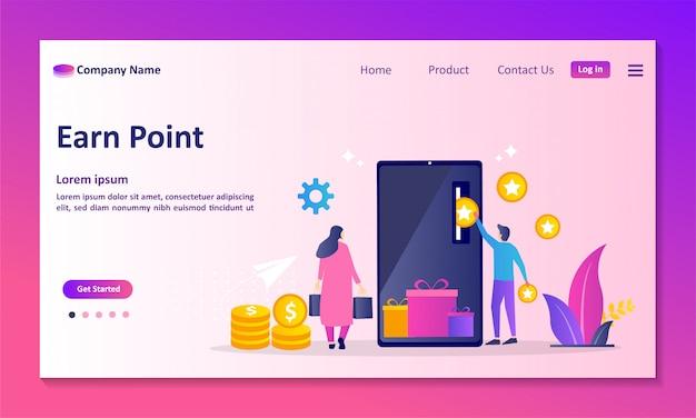 Programa de fidelidade e recompensas página de destino Vetor Premium