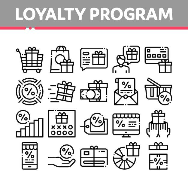 Programa de fidelidade para conjunto de ícones do cliente Vetor Premium