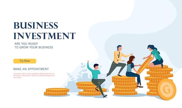 Programa de investimento de negócios bem sucedido com o conceito de design plano Vetor Premium