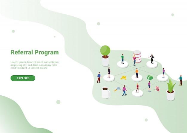 Programa de parceria de afiliados de referência para o modelo de site ou página inicial de destino Vetor Premium