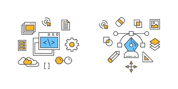 Programa e design ilustração Vetor Premium