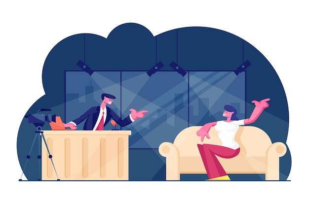Programa noturno de tv com convidado. ilustração plana dos desenhos animados Vetor Premium