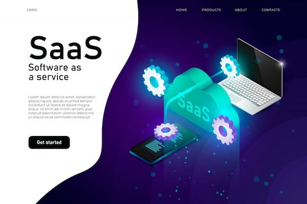 Programa saas de software como serviço. cabeçalho do site de infraestrutura de mainframe de ti. layout de design de site de rede saas, serviço de computação em nuvem isométrico Vetor Premium