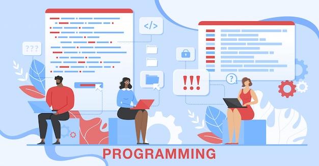 Programação de desenvolvimento de software para aplicativos técnicos Vetor Premium