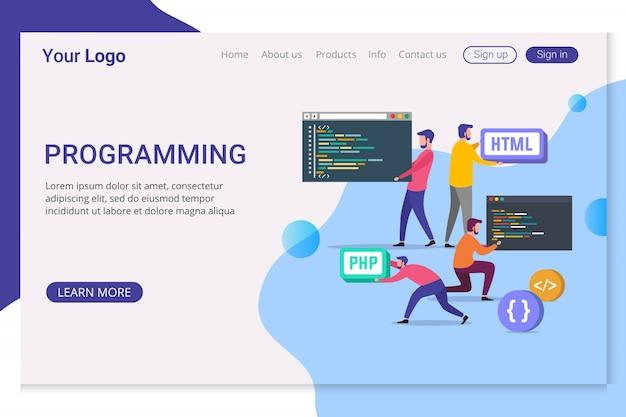 Programação de modelos de página de destino Vetor Premium