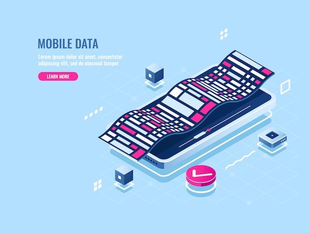 Programação de software móvel ícone isométrica, aplicação de desenvolvimento do telefone móvel Vetor grátis