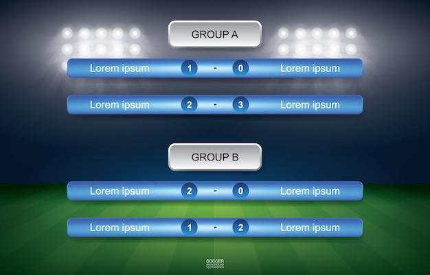 Programação do fósforo do copo do futebol do futebol com fundo do estádio. Vetor Premium